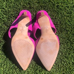 Jessica Simpson Shoes - Jessica Simpson Hot Pink Suede Heels